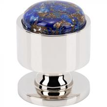 View Product - FireSky Mohave Lapis Knob 1 1/8 Inch Polished Nickel Base Polished Nickel