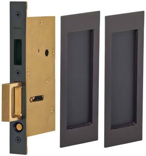 Pair Dummy Pocket Door Lock with Modern Rectangular Trim featuring Mortise Edge Pull in (US10B Black, Oil-Rubbed, Lacquered) Product Image