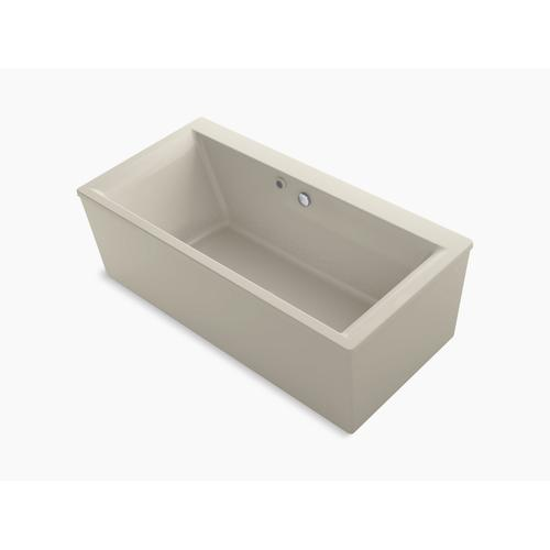 "Biscuit 60"" X 34"" Freestanding Bath With Bask Heated Surface and Straight Shroud"