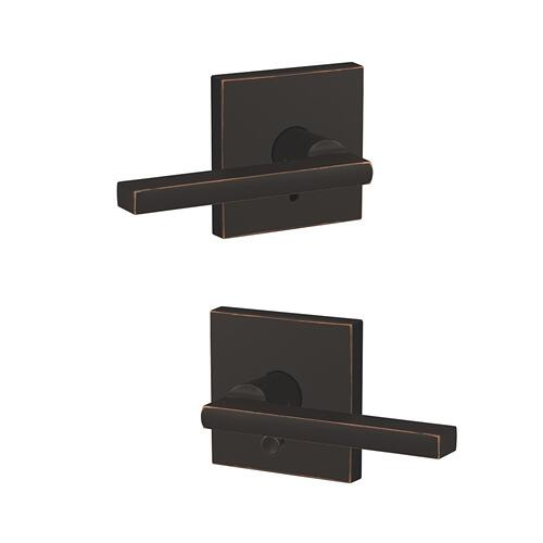 Custom Latitude Lever with Collins Trim Hall-Closet and Bed-Bath Lock - Aged Bronze