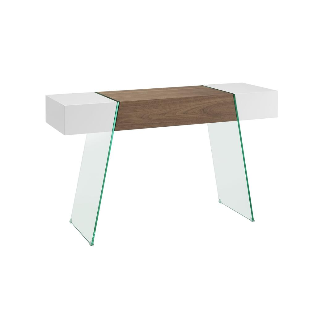 The Il Vetro Cabana Console Table In High Gloss White Lacquer And Walnut Veneer With Clear Glass