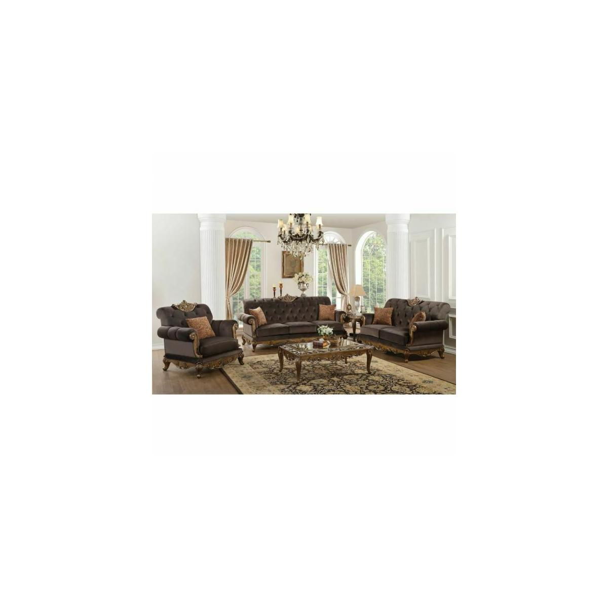ACME Orianne Sofa w/2 Pillows - 53795 - Charcoal Fabric & Antique Gold