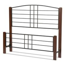 Dayton Metal Headboard and Footboard Bed Panels with Flat Wood Posts and Sloping Top Rail, Black Grain Finish, King