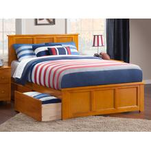 Madison Queen Bed with Matching Foot Board with 2 Urban Bed Drawers in Caramel Latte