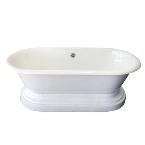 "Duet 67"" Cast Iron Double Roll Top Tub on Base - No Drillings"