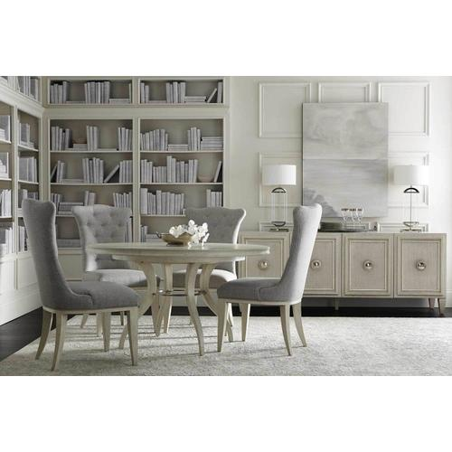 Allure Round Dining Table in Manor White (399), Silver Mist (399)