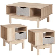 3 Piece Coffee and End Table in Oak Wood Grain Finish with Gray Drawers