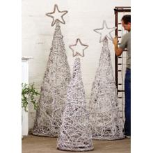 View Product - set of 3 whitewash giant iron twig topiaries with star finials
