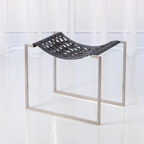 Knit Pearl Stool-Nickel-Dark Grey Leather