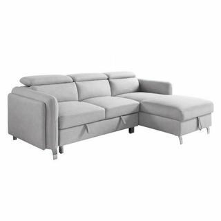 ACME Reyes Sectional Sofa w/Sleeper - 56040 - Contemporary - Nubuck, Frame: Wood (Eucalyptus+Ply), Foam (D), Metal Sleeper Mechanism, Metal Leg - Beige Nubuck