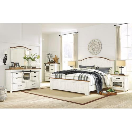 Wystfield King Panel Bed White/Brown