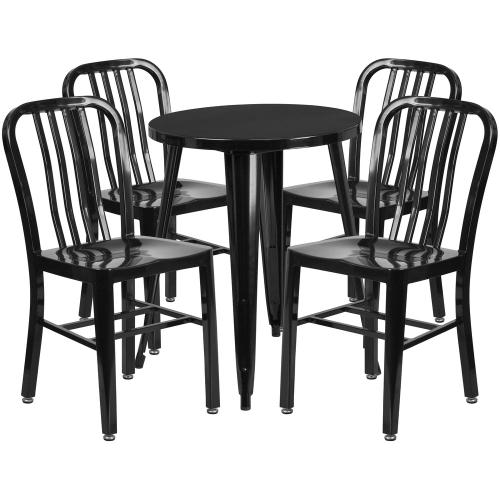 24'' Round Black Metal Indoor-Outdoor Table Set with 4 Vertical Slat Back Chairs