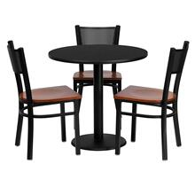 See Details - 30'' Round Black Laminate Table Set with 3 Grid Back Metal Chairs - Cherry Wood Seat