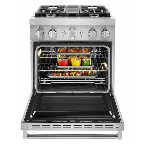 KitchenAid - KitchenAid® 30'' Smart Commercial-Style Dual Fuel Range with 4 Burners - Stainless Steel