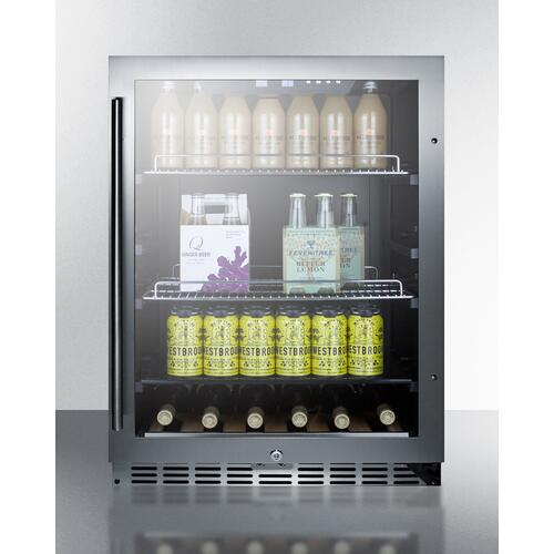 Built-in Undercounter Beverage Refrigerator With Seamless Trimmed Glass Door, Digital Controls, Lock, and Black Cabinet - CLEARANCE ITEM