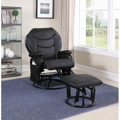 CLEARANCE Upholstered Casual Black Swivel Glider and Ottoman