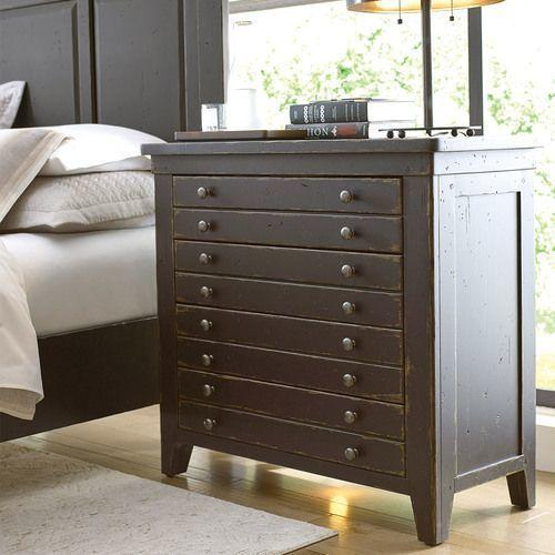 Mill House Map Drawer Bedside Chest - Anvil Finish