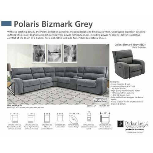 POLARIS - BIZMARK GREY Power Right Arm Facing Recliner