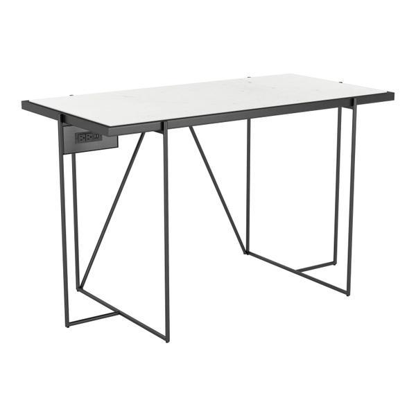 See Details - Winslett Marble Desk White & Matte Black