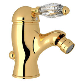 Viaggio Single Lever Single Hole Bidet Faucet - Italian Brass with Crystal Metal Lever Handle