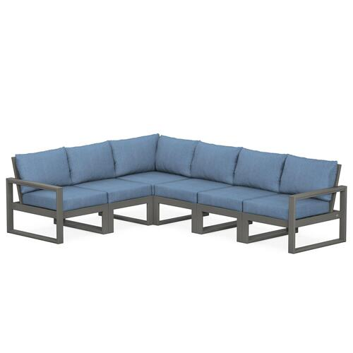 Polywood Furnishings - EDGE 6-Piece Modular Deep Seating Set in Slate Grey / Sky Blue