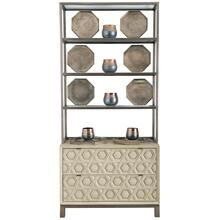 Santa Barbara Drawer Chest with Metal Deck in Textured Cameo (385), Vintage Nickel Metal (385)