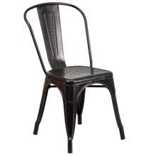 Black-Antique Gold Metal Indoor-Outdoor Stackable Chair