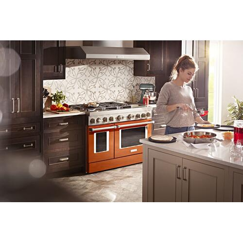 KitchenAid® 48'' Smart Commercial-Style Dual Fuel Range with Griddle Scorched Orange