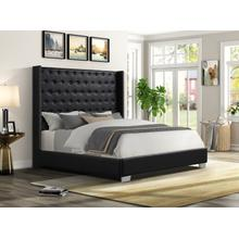 See Details - Alanis Queen Bed, Black PU