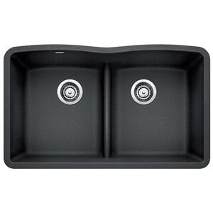 Diamond Equal Double Bowl With Low Divide - Anthracite