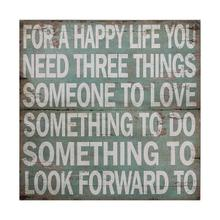 """View Product - 36"""" Sq MDF Wall Decor """"For A Happy Life"""""""