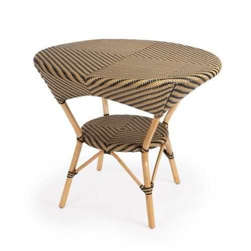 Butler Specialty Company - Evoking images of sidewalk tables in the Cote d'Azur, Dinning Table like this will give your kitchen or patio the casual sophistication of a Mediterranean coastal bistro. Expertly crafted from thick bent rattan for superb durability, it features weather resistant woven plastic in a black and beige striped pattern.