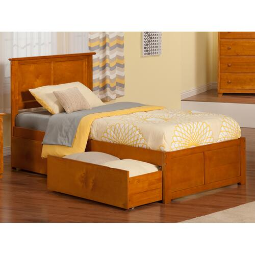 Madison Twin Flat Panel Foot Board with 2 Urban Bed Drawers Caramel Latte