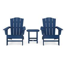 View Product - Wave 3-Piece Adirondack Chair Set with The Crest Chairs in Navy