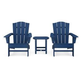 Polywood Furnishings - Wave 3-Piece Adirondack Chair Set with The Crest Chairs in Navy