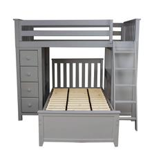 See Details - All in One Loft Bed Storage Study + Twin Bed Grey