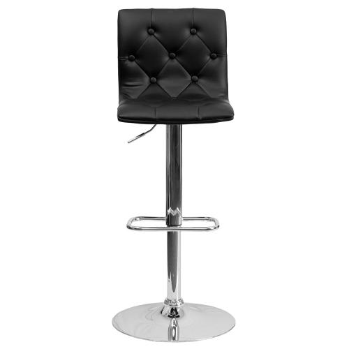 Contemporary Tufted Black Vinyl Adjustable Height Barstool with Chrome Base