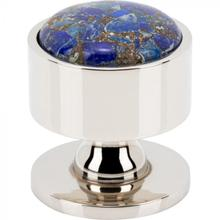 View Product - FireSky Mohave Lapis Knob 1 3/8 Inch Polished Nickel Base Polished Nickel