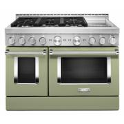 KitchenAid® 48'' Smart Commercial-Style Gas Range with Griddle - Avocado Cream Product Image