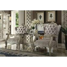 ACME Versailles Chair w/1 Pillow - 52087 - Ivory Velvet & Bone White