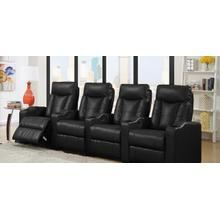 View Product - Camden Black Bonded Leather 4-Piece Reclining Theater Set