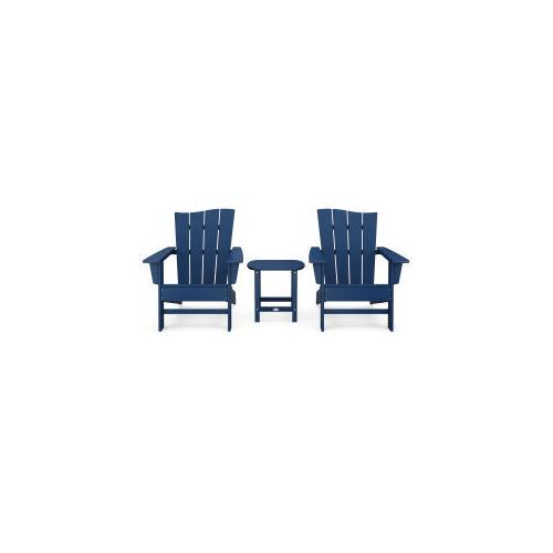 Polywood Furnishings - Wave 3-Piece Adirondack Chair Set in Navy