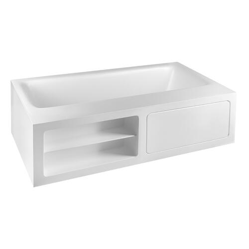 """Freestanding bathtub in Cristalplant® Matt white L 5' 10-7/8"""" W 3' 3-3/8"""" H 1' 9-11/16"""" Side ledge Open shelves (left side ) and tap mounting with access door (right side) Waste included CSA certifiedPlease check if the capacity load of the slab is in conformity with the specificationsPlease contact Gessi USA for freight terms"""