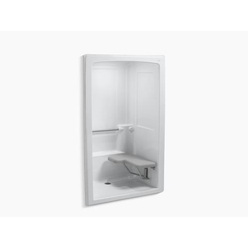 """White 52"""" X 38-1/2"""" X 84"""" Barrier-free Shower Stall With Brushed Stainless Steel Grab Bars and Seat At Right"""