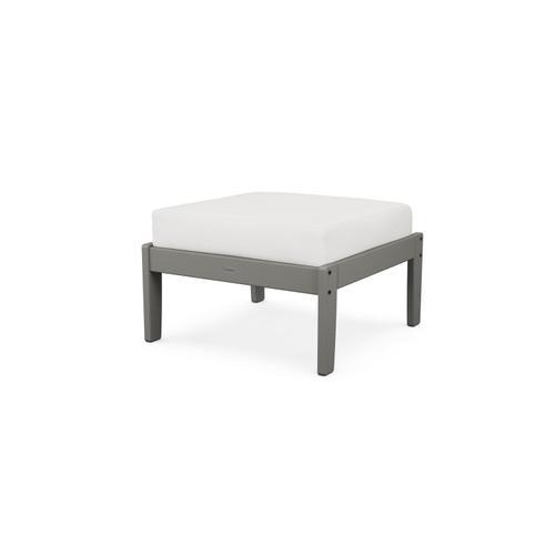 Slate Grey & Textured Linen Braxton Deep Seating Ottoman