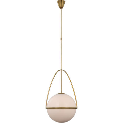 AERIN Lisette LED 18 inch Hand-Rubbed Antique Brass Globe Pendant Ceiling Light, Large