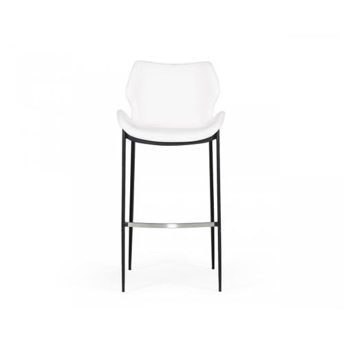 VIG Furniture - Modrest Ithaca - Modern White Leatherette Bar Stool (Set of 2)