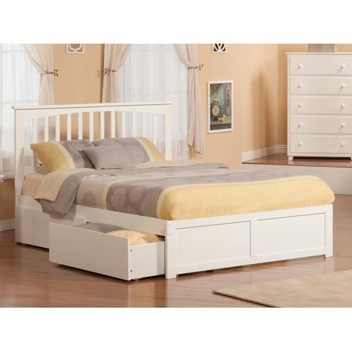 Mission King Flat Panel Foot Board with 2 Urban Bed Drawers White