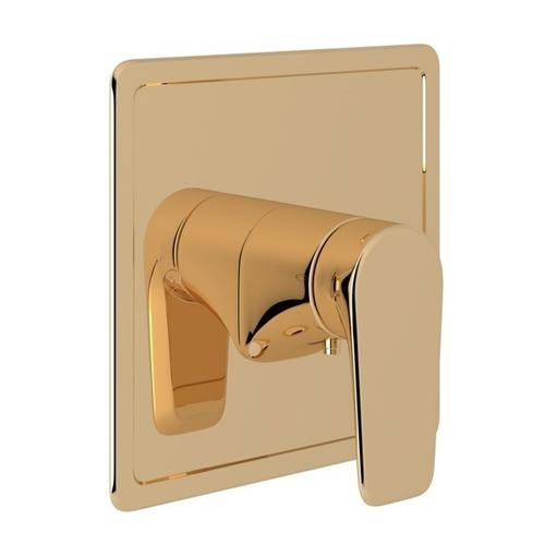 English Gold Perrin & Rowe Hoxton Thermostatic Trim Plate Without Volume Control with Hoxton Metal Lever