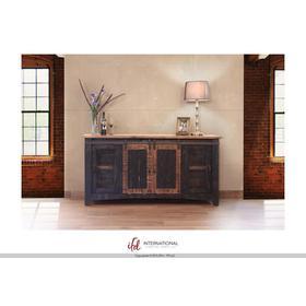 "See Details - 70"" Pueblo TV Stand w/ 4 doors & Shelves Black"